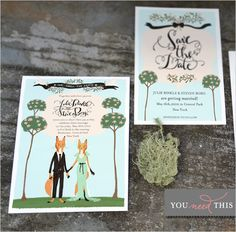 Animal Wedding Invitations - like the foxes so cute woodland forest invitation