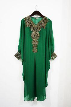Moroccan Green Sheer Chiffon Kaftan Dubai Abaya Wedding Party Plus Size Maxi Dress Gold Embroidery With Cuff Moroccan Dress, Moroccan Style, Kebaya Dress, Gold Embroidery, Plus Size Maxi Dresses, Sheer Chiffon, Character Outfits, Gold Dress, What To Wear