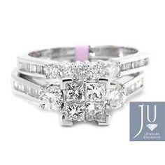 Oro Blanco De Corte Princesa Diamante Boda nupcial Banda anillo de compromiso conjunto De 1.0 ct