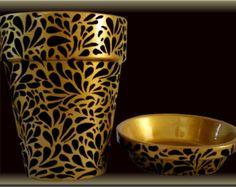 Tourbillon noir et or Flower Pot Original peint à la main
