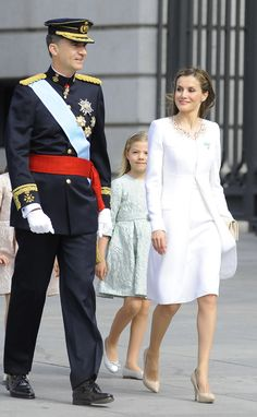 Their Majesties King Felipe IV and Queen Letizia of Spain with daughters Princess Leonore and Infanta Sofia June 19, 2014
