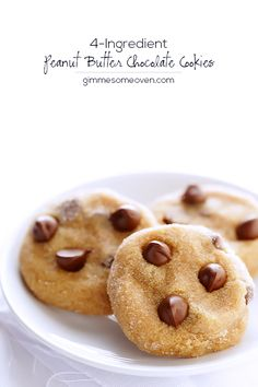 4-Ingredient Peanut Butter Chocolate Cookies | Gimme Some Oven