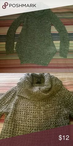 Olive Green Chunky Knit Tunic Sweater Olive Green and cream chunky knit cowl neck tunic length sweater. Perfect for leggings or skinny jeans and your favorite pair of boots. Rue21 Sweaters Cowl & Turtlenecks