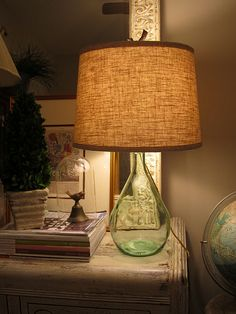 Bottle Lamps! Great way to use painted Wine Bottles from the Brush Bar :)