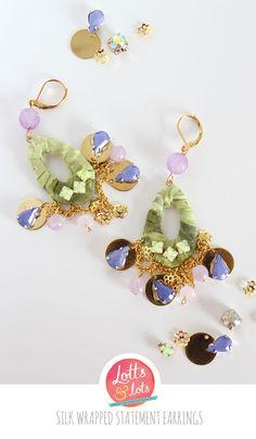 DIY - silk wrapped statement earrings