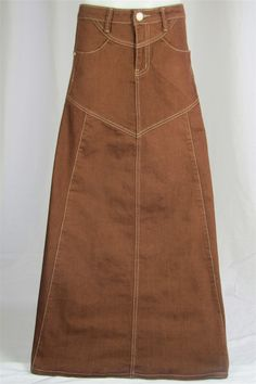 Chocolate Delight Long Brown Denim Skirt, Sizes 6-18 from The Skirt Outlet