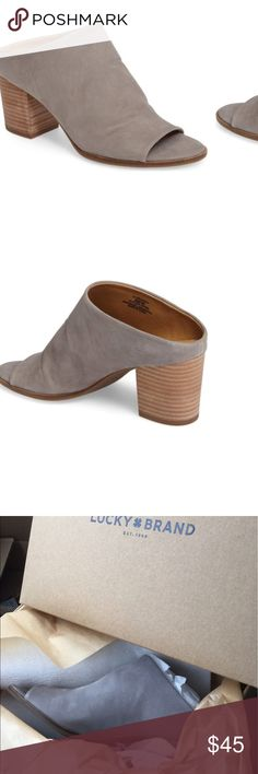 Lucky Brand Organza size 7.5 driftwood gray Brand new in box. Accidentally ordered two pairs and kept one for myself. Love them! Shoes Mules & Clogs