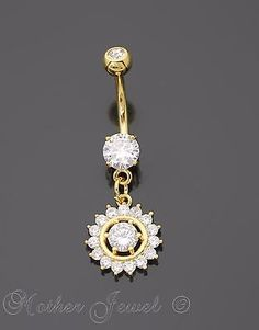 14k Rose Gold Triple Plated Reverse Simulated Diamond Dangle Belly Navel Ring Body Jewelry