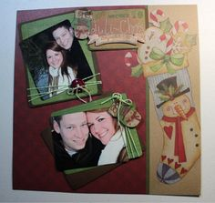 A nice scrapbook page layout of my daughter and her hubby.