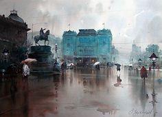 "Dusan Djukaric, ""I'm Waiting, I'm Waiting in the Rain. Watercolour"