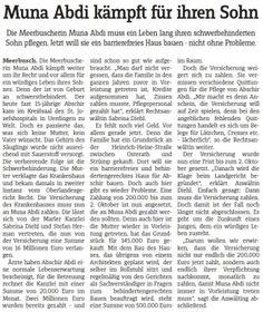 Meerbuscher Nachrichten vom 26.09.2012 - Muna Abdi kämpft für ihren Sohn Die Meerbuscherin Muna Abdi muss ein Leben lang ihren schwerbehinderten Sohn pflegen. Jetzt will sie ein bearrierefreies Haus bauen - nicht ohne Probleme - Rechtsanwaltskanzlei Sabrina Diehl