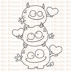 Digital stamp -- Catch My Heart Adult Coloring, Coloring Books, Coloring Pages, Cute Monsters, Monster Party, Digi Stamps, Embroidery Patterns, Ribbon Embroidery, Machine Embroidery