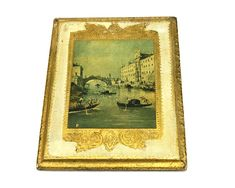 Vintage Italian Florentine Wood Plaque, Venice Bridge Gondola Scene, Antiqued Gold Gilt Wall Decor