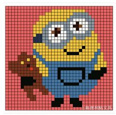Minions, Cross Stitch Floss, Pixel Crochet, Beaded Bracelet Patterns, Perler Patterns, Sandbox, C2c, Perler Beads, Animal Crossing
