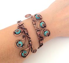 A personal favorite from my Etsy shop https://www.etsy.com/listing/202476941/wire-wrapped-turquoise-bracelet-wire