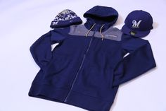 "Get this look at the #Brewers Team Store:  Men's Zip Up Jacket- $119.00 Men's Knit Hat- $25.00 Men's ""M"" Hat- $42.00"