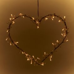 Metal Heart Wreath With Pearls And 40 Clear Fairy Lights