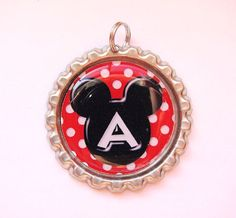 Mickey Mouse Ears Monogram Initial Charm Gear Pendant $2