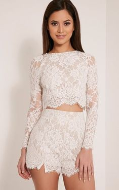 eed06d64a2b42 Ellena White Lace Long Sleeve Crop Top