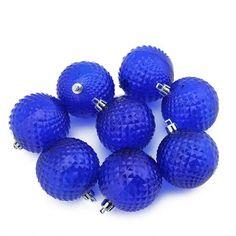 "8ct Lavish Blue Transparent Diamond Cut Shatterproof Christmas Ball Ornaments 2.5"""""