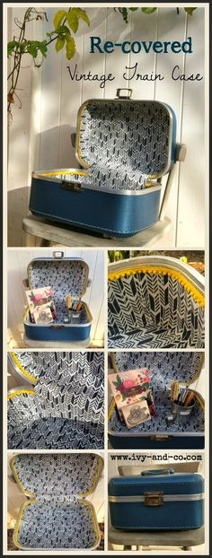 How to recover and clean a vintage train case – Ivy & Co. How to recover and clean a vintage train case – Ivy & Co. Vintage Suitcases, Vintage Luggage, Vintage Travel, Suitcase Decor, Decoupage Suitcase, Painted Suitcase, Fun Craft, Vintage Train Case, Do It Yourself Inspiration