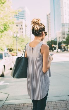 pleated back top #howtowear