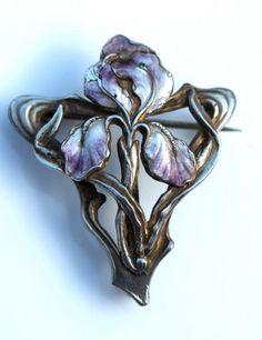 Art Nouveau Jugendstil 800 Silver Enamel Bearded Iris Watch Locket