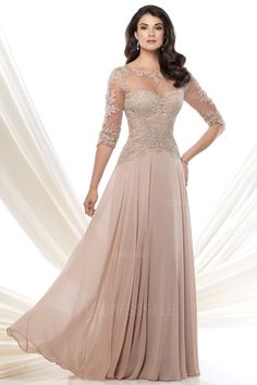 A-Line/Princess Bateau Floor-length Chiffon Mother of the Bride Dress