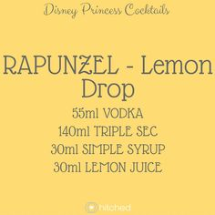If there's one princess who didn't need any help with wedding hair extensions, it was Rapunzel. This princess had the most stunning golden locks and her personality packed a punch or two. She fought her way through being kept captive and used her sassy nature to set herself free which is why the Lemon Drop is the perfect cocktail for her. The zesty flavour and citrus theme make a gorgeous combination. Tip: Coat the rim of the glass with sugar and gold edible glitter for an extra princess…