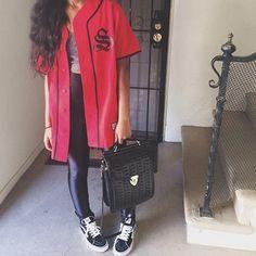 jacket red tumblr backpack bag disco pants