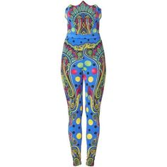 Preowned Versaceprint Body & Leggings, Spring/summer 1991 ($3,092) ❤ liked on Polyvore featuring pants, leggings, multiple, versace, polka dot pants, blue trousers, paisley pants and summer pants