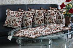 Set Sarung Bantal Kursi Batik. Kode SBK001, Proses Batik Cap dengan motif Daun Kangkung.