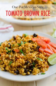 Healthy Mexican style tomato rice prepared using brown rice and fresh tomatoes.