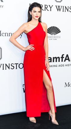 Kendall Jenner bravely matches her lip color to her Romona Keveza gown.