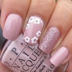Pink nails with white flowers