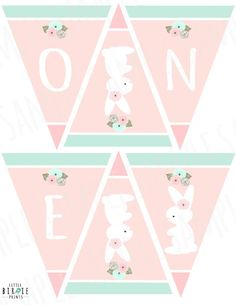 Having a Bunny themed party? This sweet mint and pink high chair banner comes with a sweet bunny and flowers in mints and pinks. Print out, cut each triangle, tie up with a ribbon! I have a full party pack to match here: Easter Birthday Party, Bunny Birthday, Baby Girl First Birthday, First Birthday Parties, Birthday Party Themes, First Birthdays, Baby Shower Bunting, Bunny Party, Bunting Banner