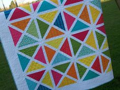 Busy Hands Quilts: Modern Garden Arbor Oversized Lap Twin Quilt in Bright Colors and White