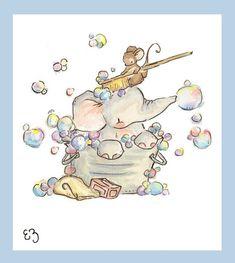A Bath For Elephant. PRINT 8X10. Nursery Art Home by LoxlyHollow