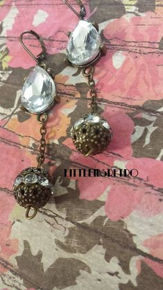 Elegant Clear Gem Dangle Earrings by LittleMsRetro on Etsy, $8.00