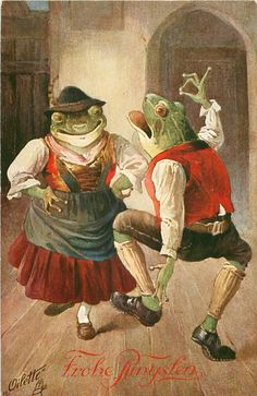 two dressed frogs dance