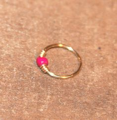Extra Small Fuchsia Cartilage/Nose Hoop Earrings by BirchBarkDesign, $8.95