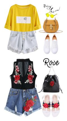 """""""Romwe #15"""" by oliverab ❤ liked on Polyvore featuring romwe, Spring, yellow, Daisy, Flowers and rose"""
