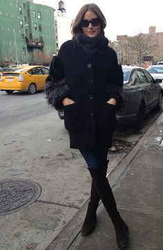 I'm wearing Givenchy sunglasses, a scarf by Paul & Joe, with an Agnona sweater. My jeans are Henry & Belle,and my boots are Stuart Weitzman.