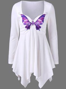 Butterfly Print Empire Waist Asymmetrical T-Shirt - WHITE XL