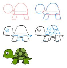 Just like the animal, simply learn how to draw an illustration of a turtle one step at a time and see a few variations to help you make the character simpler and easier to illustrate! Easy Animal Drawings, Easy Drawings For Kids, Drawing For Kids, Art For Kids, Children Drawing, Doodle Drawings, Doodle Art, Draw Animals For Kids, Tortoise Drawing
