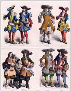 17e eeuwse barokke kostuums Officer en Musketier van de Franse Garde, infanterie, politieagent, edelman.  Franse boeren kleding