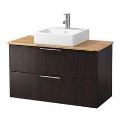 "GODMORGON/ ALDERN /  TÖRNVIKEN vanity, countertop and 17 3/4"" sink, bamboo…"