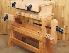 woodworking bench bench plans workbenches 3 Classic Vises made with Pipe Clamps Increase your bench's versatility on a budget. By Chad Stanton As a professional woodworker, leaving the comfort. Diy Woodworking Vise, Woodworking Magazine, Woodworking Techniques, Popular Woodworking, Woodworking Projects Plans, Woodworking Machinery, Woodworking Classes, Sketchup Woodworking, Woodworking Basics