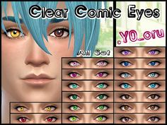 The Sims Resource: Clear Comic Eyes by YoYoru • Sims 4 Downloads
