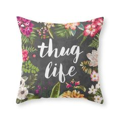 Society6 Thug Life Throw Pillow Indoor Cover (20' x 20') with pillow insert >>> Continue to the product at the image link. (This is an affiliate link) #EasyHomeDecor